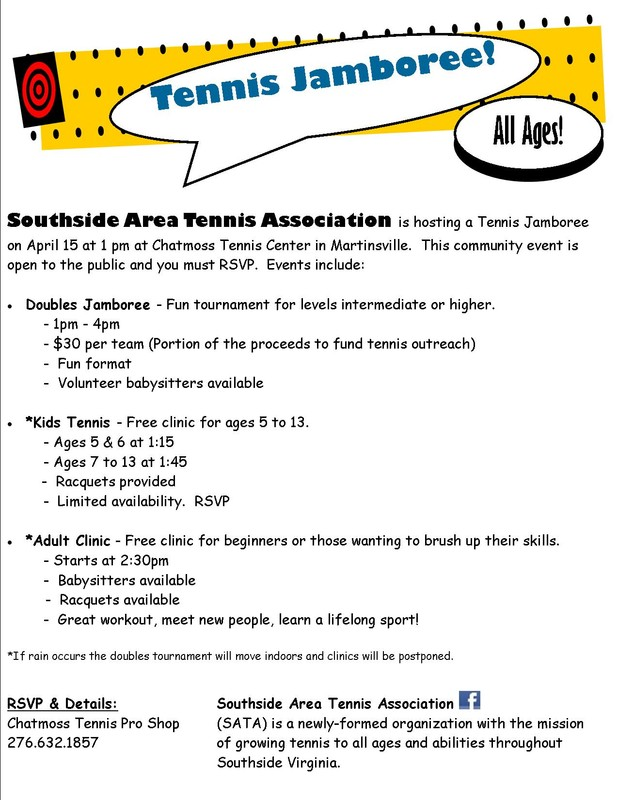 Southside Area Tennis Association (SATA) will host Tennis Jamboree